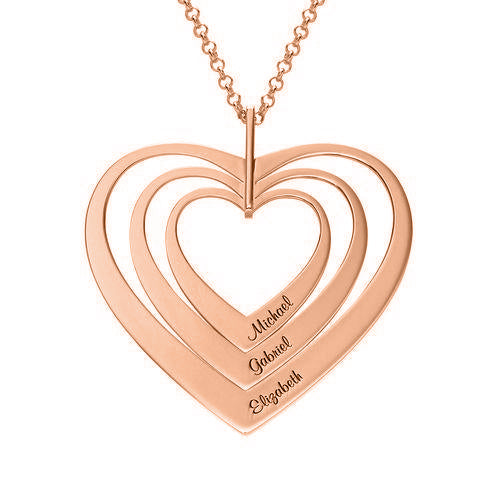"925 Sterling Silver Personalized Name Necklace with Three Heart Adjustable 16""-20"""