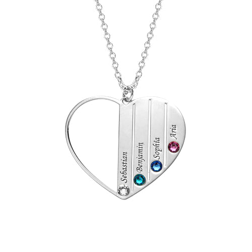 "925 Sterling Silver Personalized Heart  Name Necklace with four birthstones Adjustable 16""-20"""