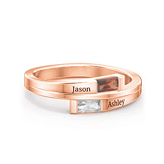 Copper/925 Sterling Silver Personalized Engraved Birthstone Ring