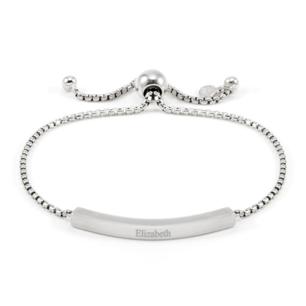 "925 Sterling Silver Personalized Engraved Bar Bracelet Adjustable 6""-7.5"""