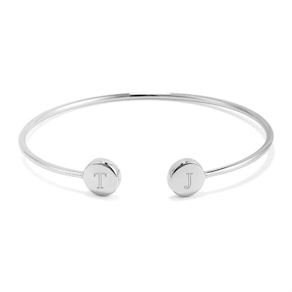 "925 Sterling Silver Personalized Engravable Double Signet Cuff Bracelet Adjustable 6""-7.5"""