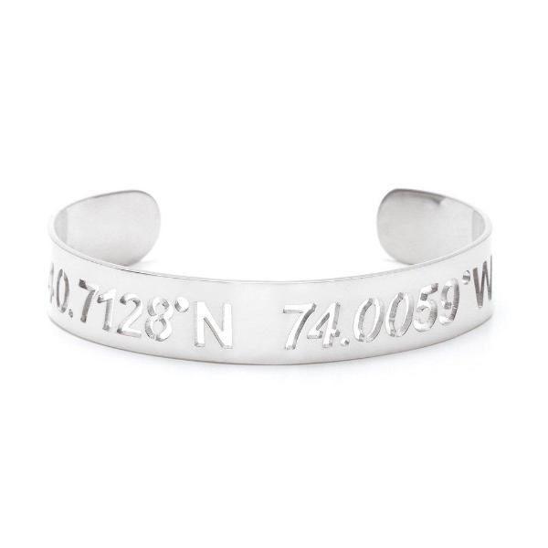 925 Sterling Silver Personalized Coordinate Cut Out Cuff