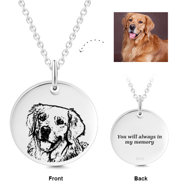925 Sterling Silver PET NECKLACE--PHOTO & TEXT ENGRAVED NECKLACE