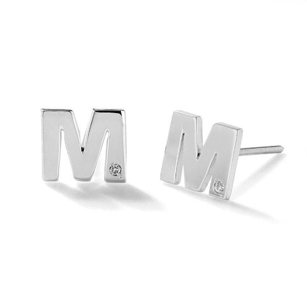 925 Sterling Silver Personalized Diamond Uppercase Letter Name Earrings