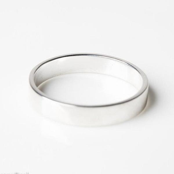 Sterling Silver Personalized Simple Engagement Band Rings
