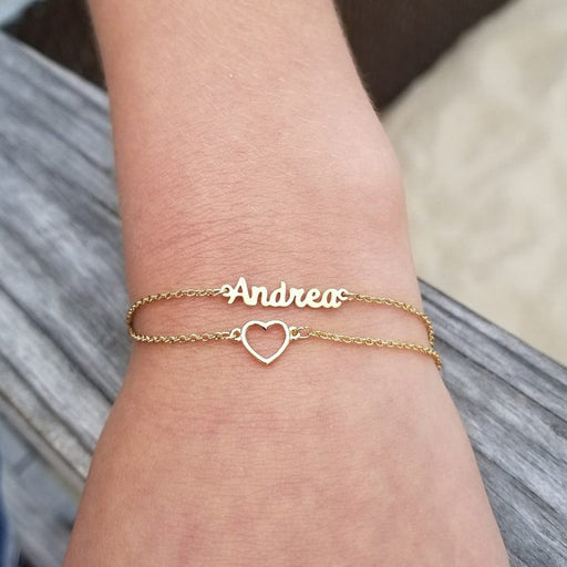 "925 Sterling Silver Layered Name Bracelet With Heart Adjustable Chain 6""-7.5"""