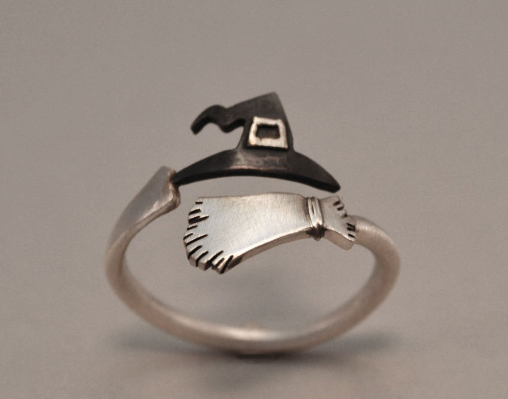 Sterling Silver 925 Wizard Witche's Broom and Hat Ring Halloween Jewelry Funny Cool Halloween Gift