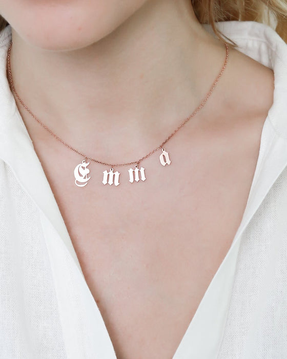 925 Sterling Silver Initial Custom Name Jewelry Spaced Letter Necklace