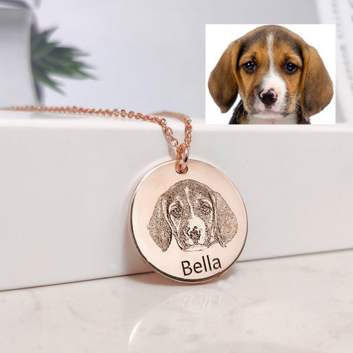 925 Sterling Silver Personalized Dog Photo Pet Portrait Necklace Engraved Name Pet Portrait Pendant