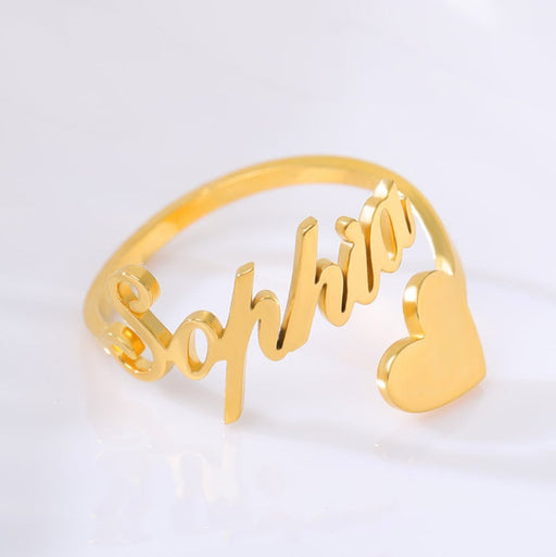 925 Sterling Silver Personalized Script Letters Name Ring with Heart