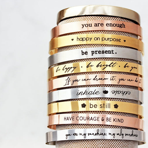 925 Sterling Silver Personalized  Mantra Custom Cuff Bangle Inspirational Gifts