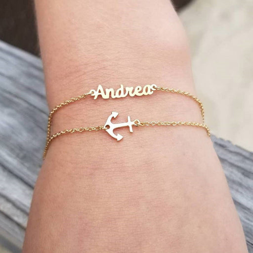 "925 Sterling Silver Layered Name Bracelet With Sideways Anchor Adjustable Chain 6""-7.5"""