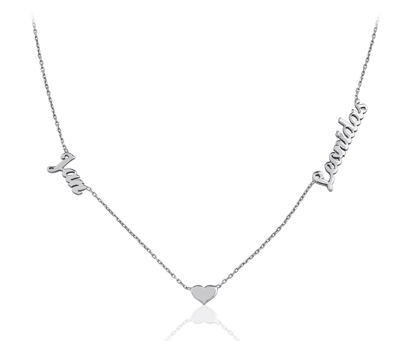 "925 Sterling Silver Custom Two Name Necklace With Heart Adjustable Chain 16""-20"""