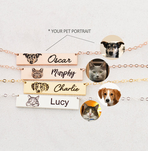 925 Sterling Silver Pet Portrait Necklace by Caitlyn Minimalist Cat Lover Jewelry Pet Memorial Gift