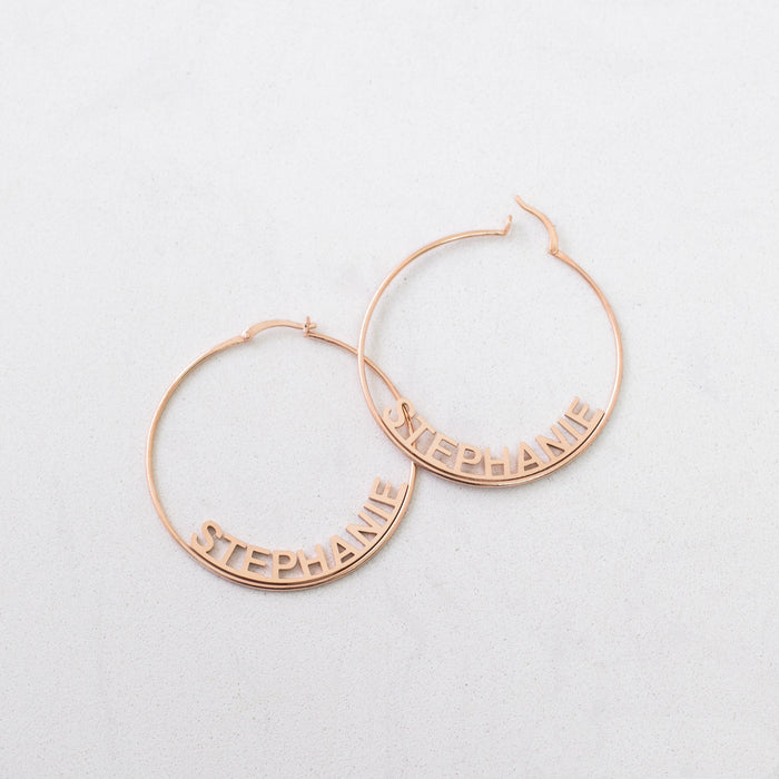 925 Sterling Silver Custom Name Hoops Large Hoop Earrings in Sterling Silver Gold and Rose Gold Name Earrings Personalized Gift for Her