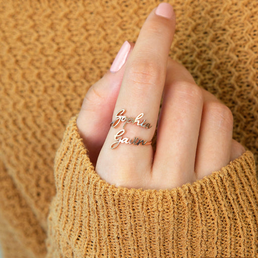 Copper/925 Sterling Silver Personalized Dainty Double Name Ring