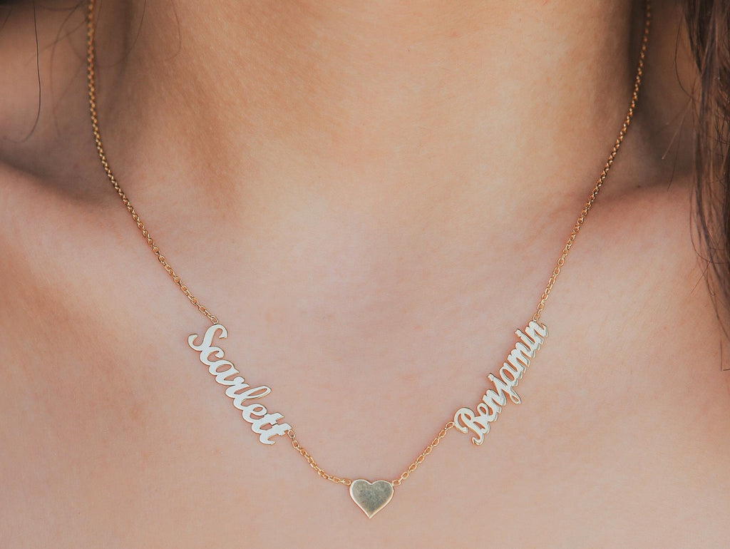 925 Sterling Silver Custom Two Name Necklace With Heart Adjustable Chain 16