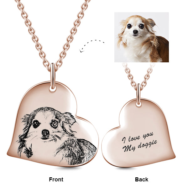 "14K Gold Love Heart Personalized Engraved Photos Necklace Adjustable 16""-20"""