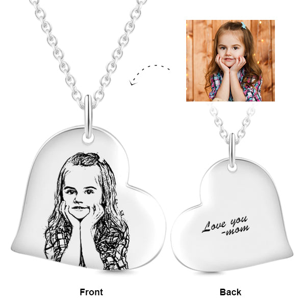 "925 Sterling Silver Love Heart Kids Personalized Engraved Photos Necklaces Adjustable 16""-20"""