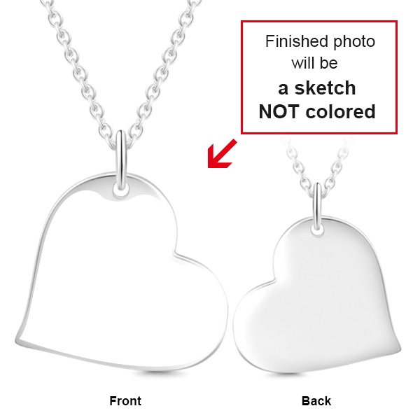 "925 Sterling Silver Love Heart Personalized Engraved Photos Necklace Adjustable 16""-20"""