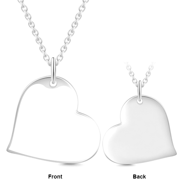 Sealed With A Kiss - 10K/14K Gold Love Heart Engraved Photo Necklace-White Gold/Yellow Gold/Rose Gold