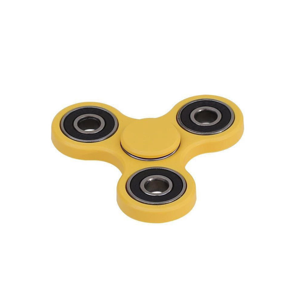 *** BRAND NEW FOR 2017 *** ORIGINAL *** FAST 1-4 MIN SPINS *** YELLOW ***- Tri Fidget Hand Spinner Focus Desk Toy EDC ADHD Autism KIDS ADULT