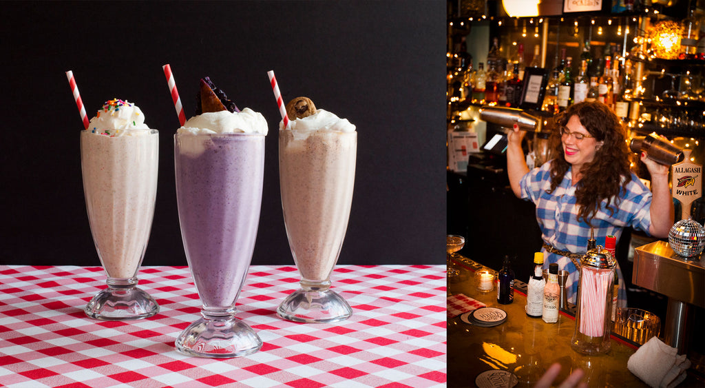 Three different milkshakes lines up, Allison Kave shaking cocktails behind the bar.