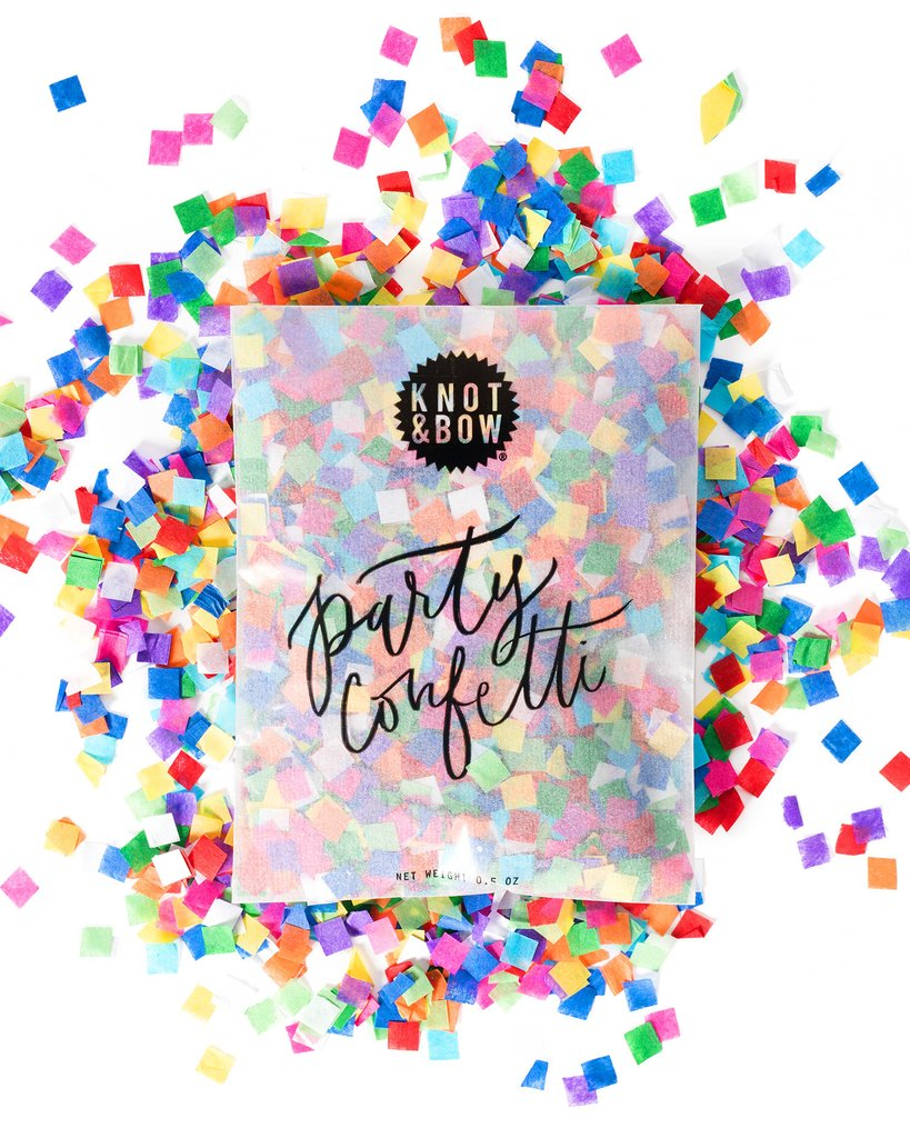 4 oz bag of Knot & Bow rainbow party confetti with some confetti spilled out