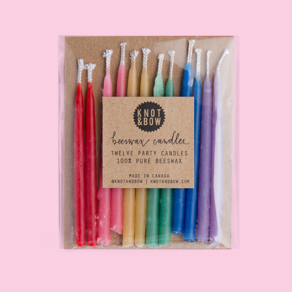 12 rainbow 3 inch beeswax candles