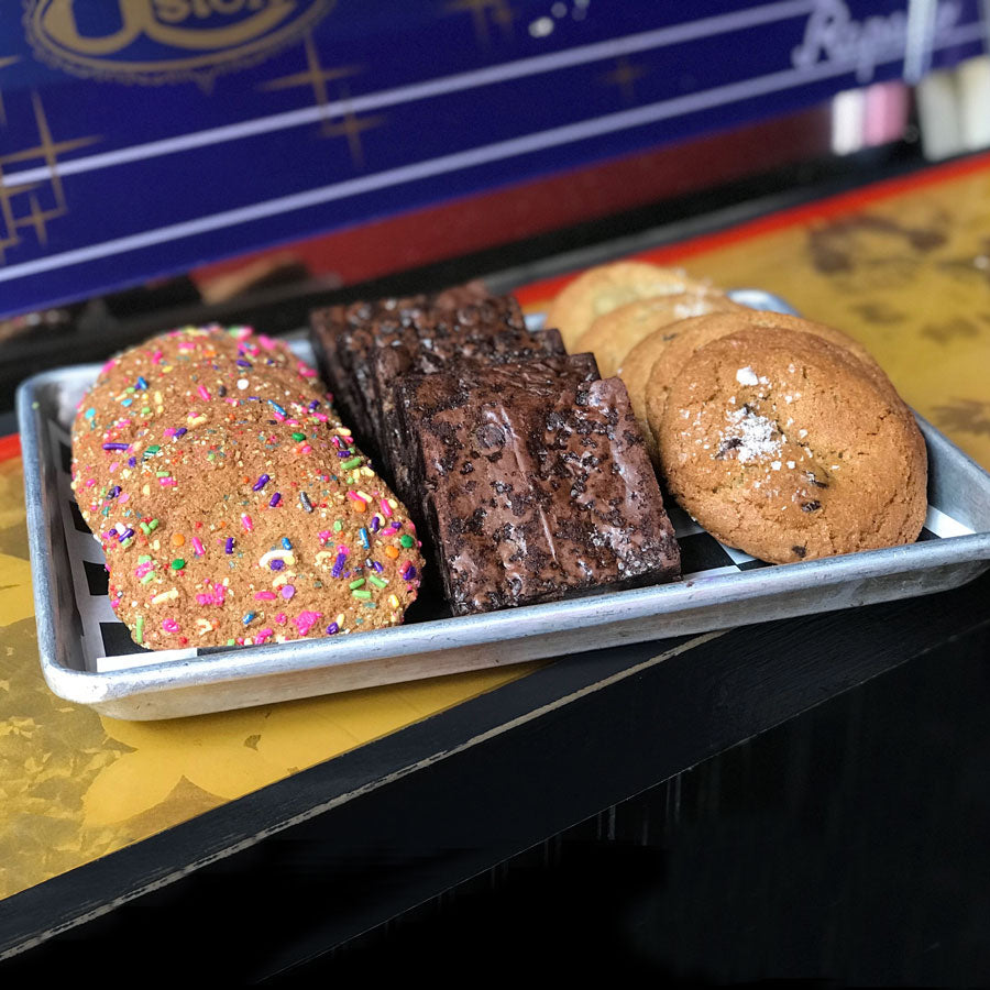 A small tray of 12 assorted treats including 4 Unicorn Treats, 4 Triple Chocolate Brownies, and 4 Salted Chocolate Chip Cookies