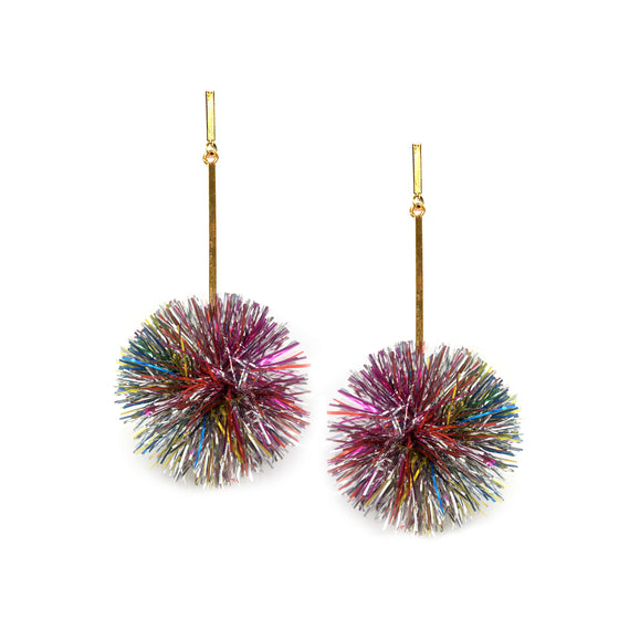 "2"" Rainbow Lurex Pom Pom Earrings, Earrings, Tuleste, Tuleste"
