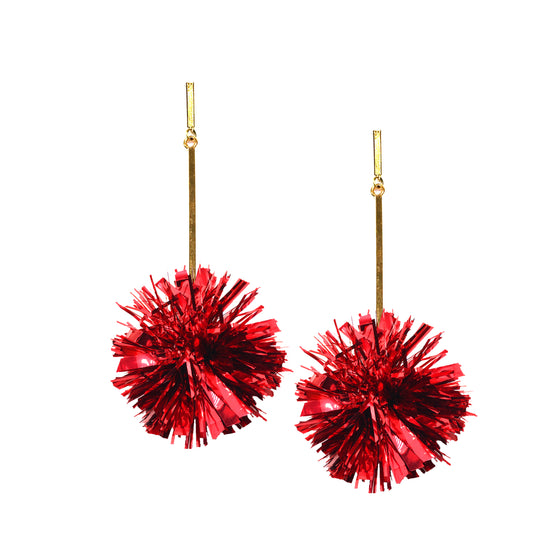 "2"" Red Lurex Pom Pom Earrings, Earrings, Tuleste, Tuleste"