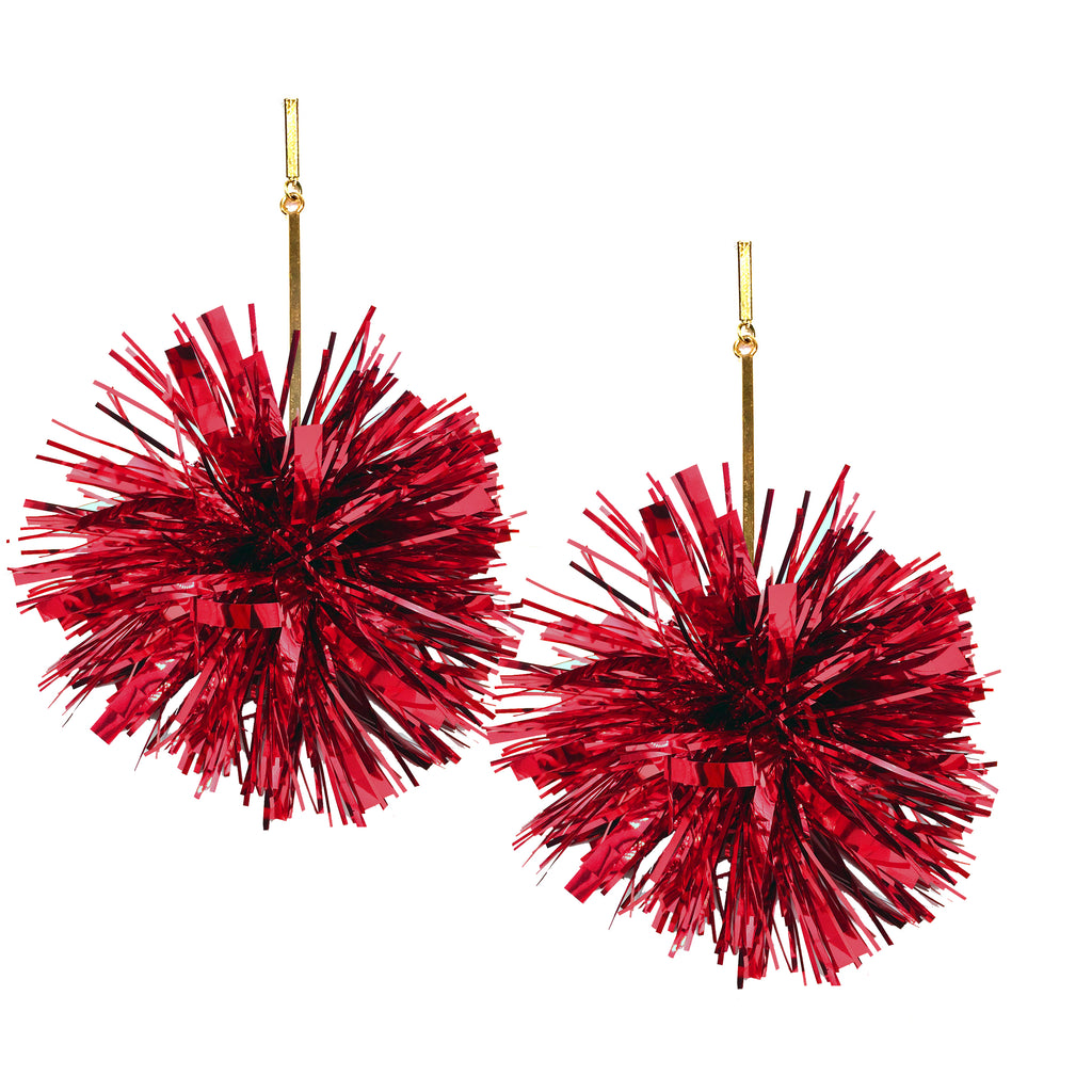 "Red 3"" Lurex Pom Pom Earrings, Earrings, Tuleste, Tuleste"