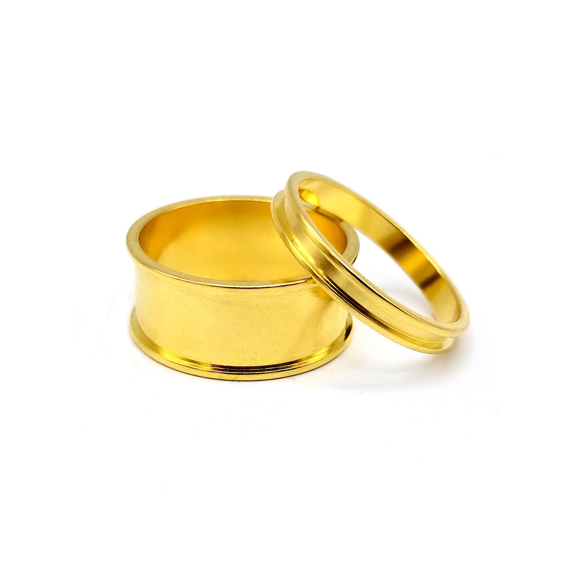 Metal Channel Ring Set - Gold Finish