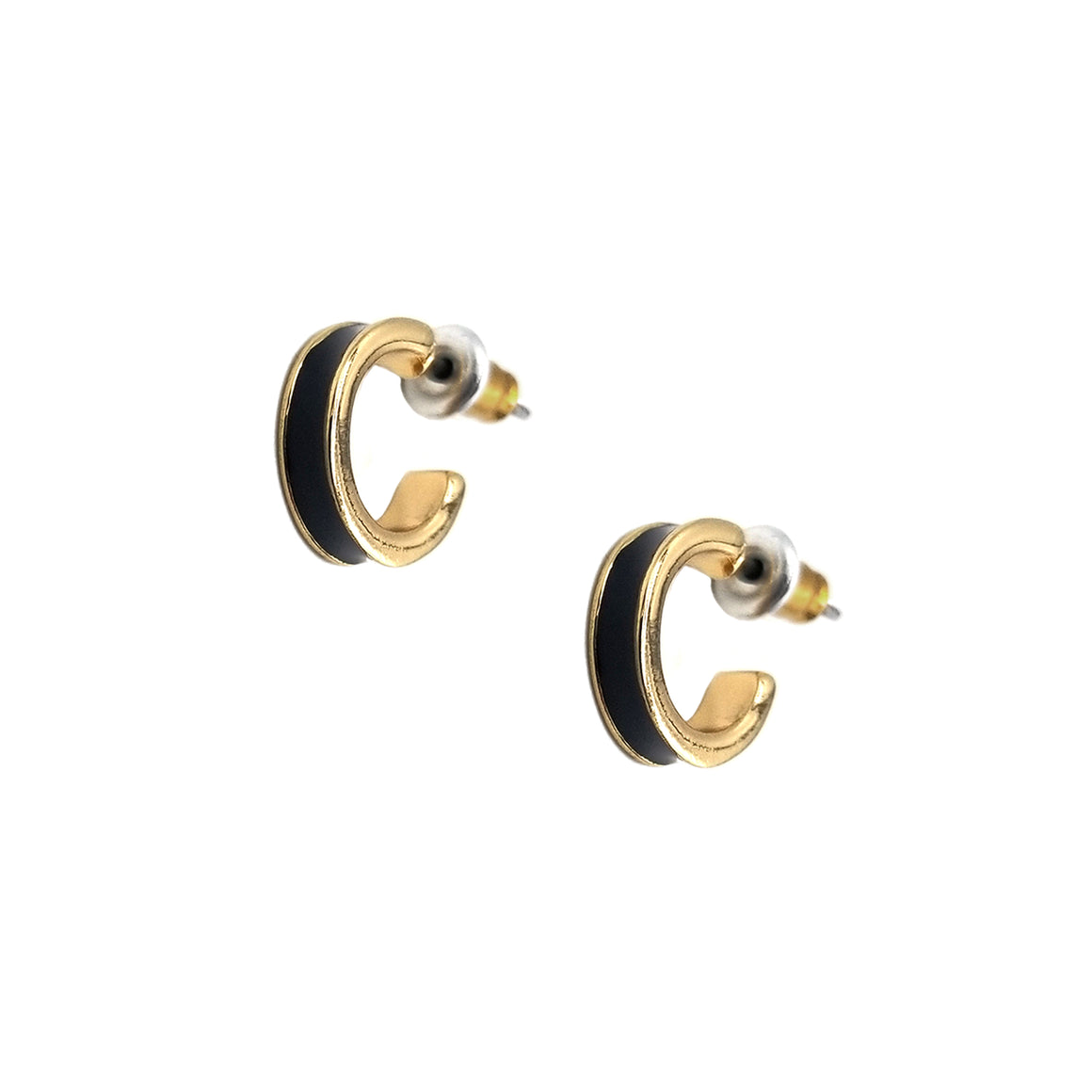 Small Enamel Channel Hoop Earrings