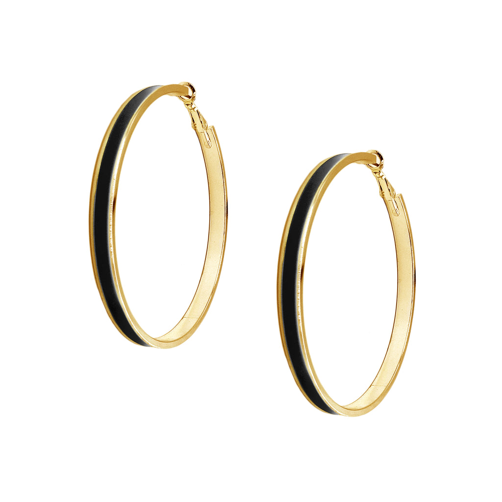 Enamel Channel Large Hoop Earrings - Black Enamel with Gold Hardware