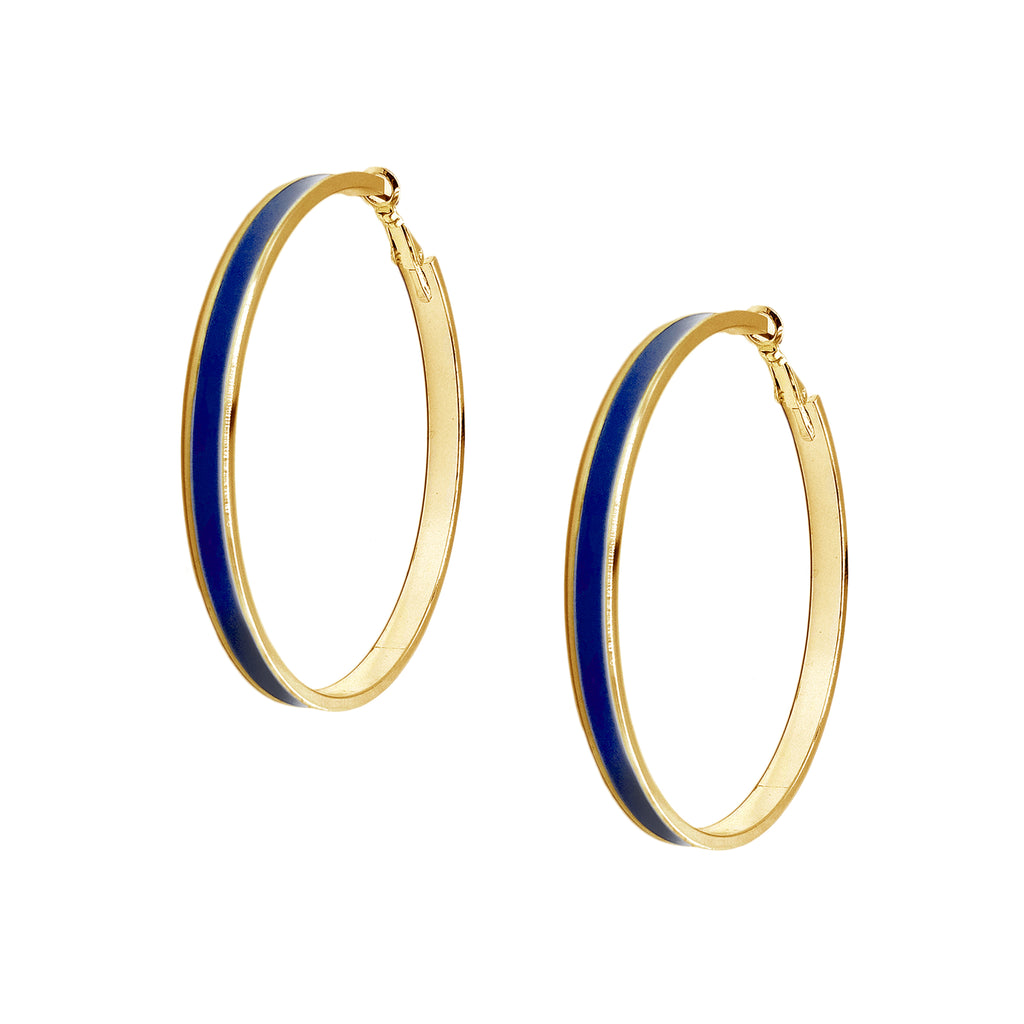 Enamel Channel Large Hoop Earrings - Cobalt Enamel with Gold Hardware