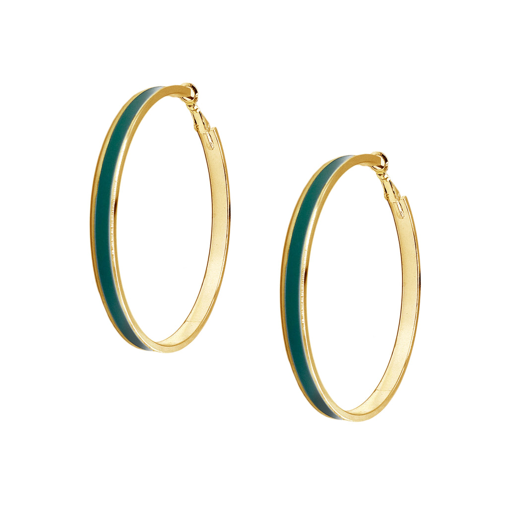 Enamel Channel Large Hoop Earrings - Green Enamel with Gold Hardware