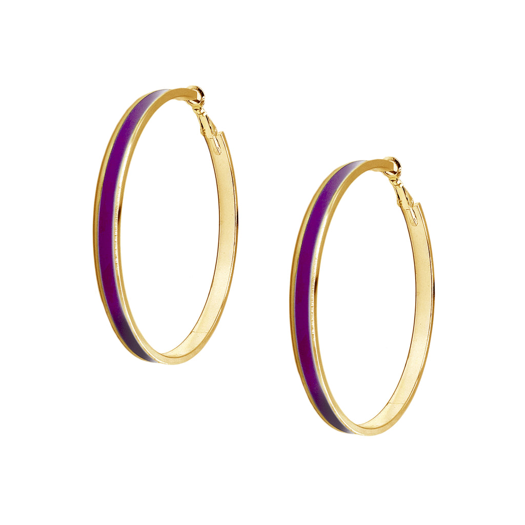 Enamel Channel Large Hoop Earrings - Purple Enamel with Gold Hardware