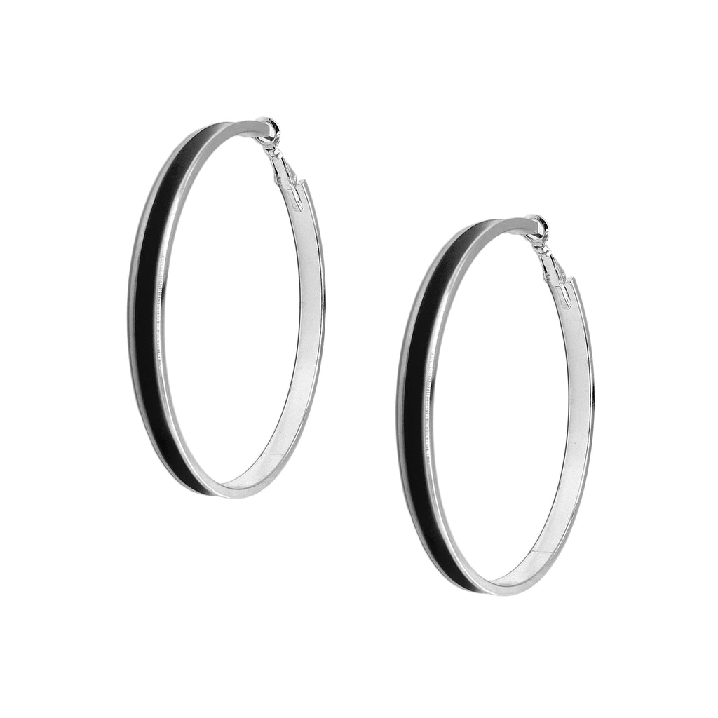 Enamel Channel Large Hoop Earrings - Black Enamel with Silver Hardware
