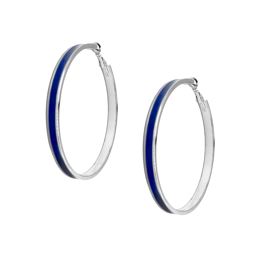 Enamel Channel Large Hoop Earrings - Cobalt Enamel with Silver Hardware