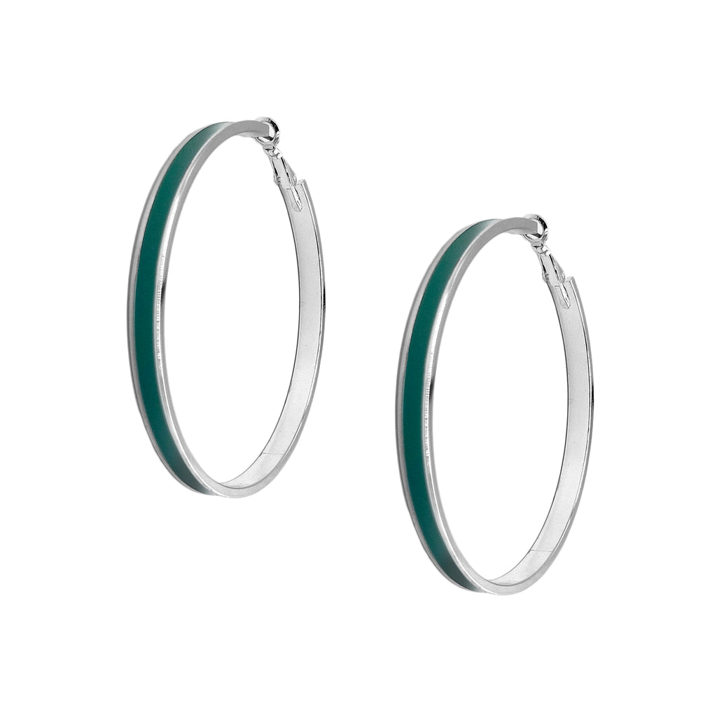 Enamel Channel Large Hoop Earrings - Green Enamel with Silver Hardware