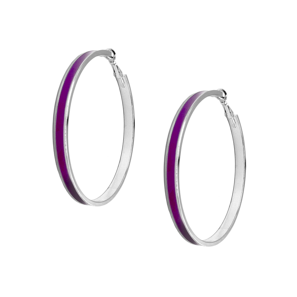 Enamel Channel Large Hoop Earrings - Purple Enamel with Silver Hardware