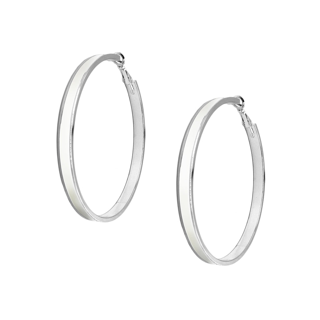 Enamel Channel Large Hoop Earrings - White Enamel with Silver Hardware