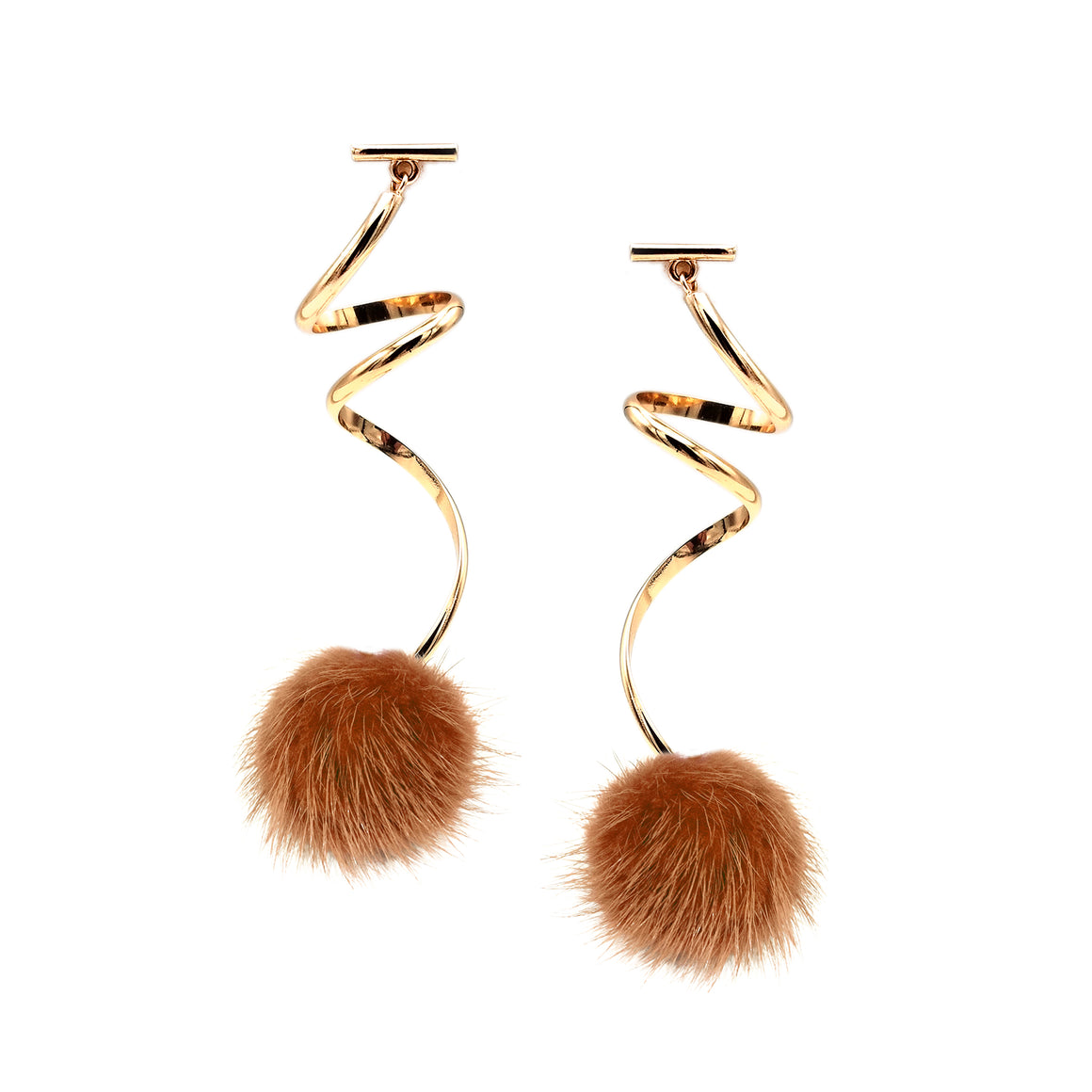 RUST MINI MINK SPIRAL POM POM EARRINGS, Earrings, Tuleste, Tuleste