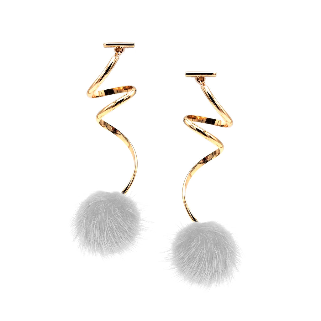 WHITE MINI MINK SPIRAL POM POM EARRINGS