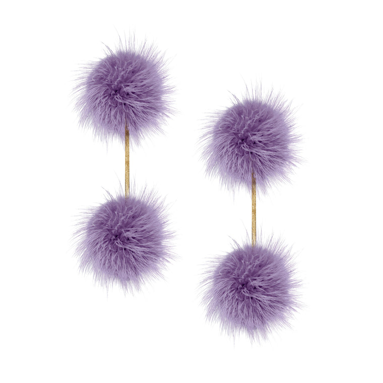 Lavender Mink Double Pom Pom Earrings
