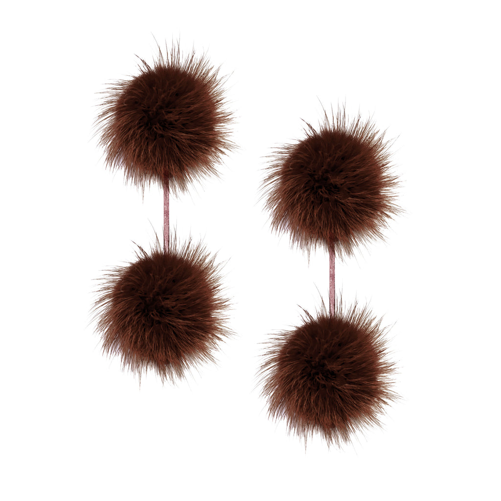 Brown Mink Double Pom Pom Earring
