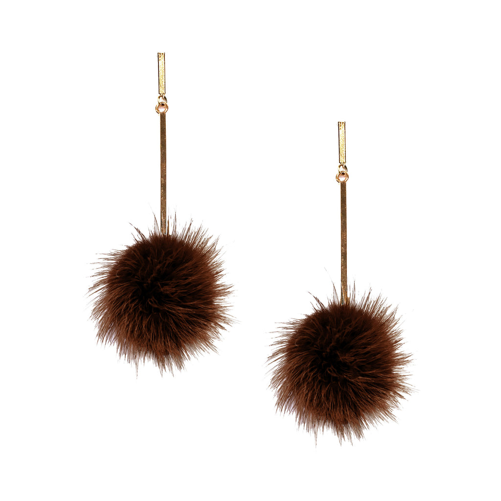 Brown Mink Pom Pom Earring