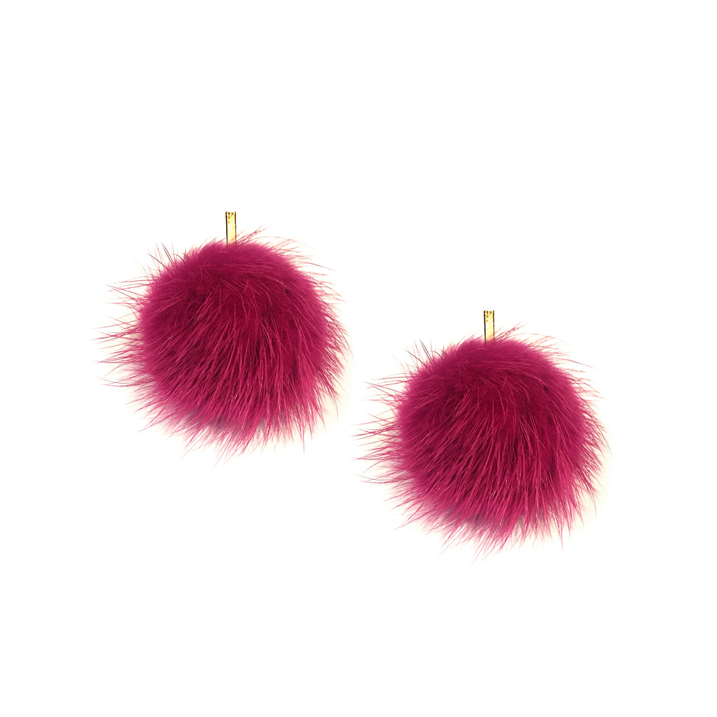 Mauve Mink Pom Pom Stud Earrings